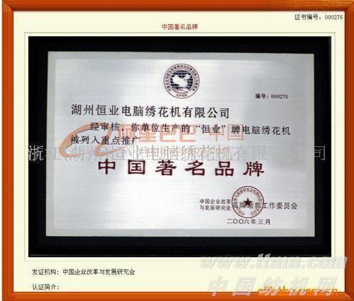 浙江湖州(恒业)优质金片绣电脑绣花机