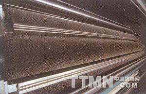 行星轮式大锡林碳素纤维辊磨毛机局部-碳刷与衬板