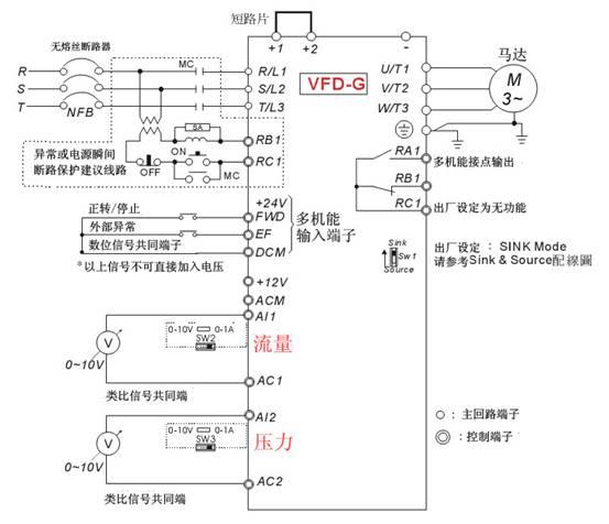 vfd-m接电机正反转电路实物图